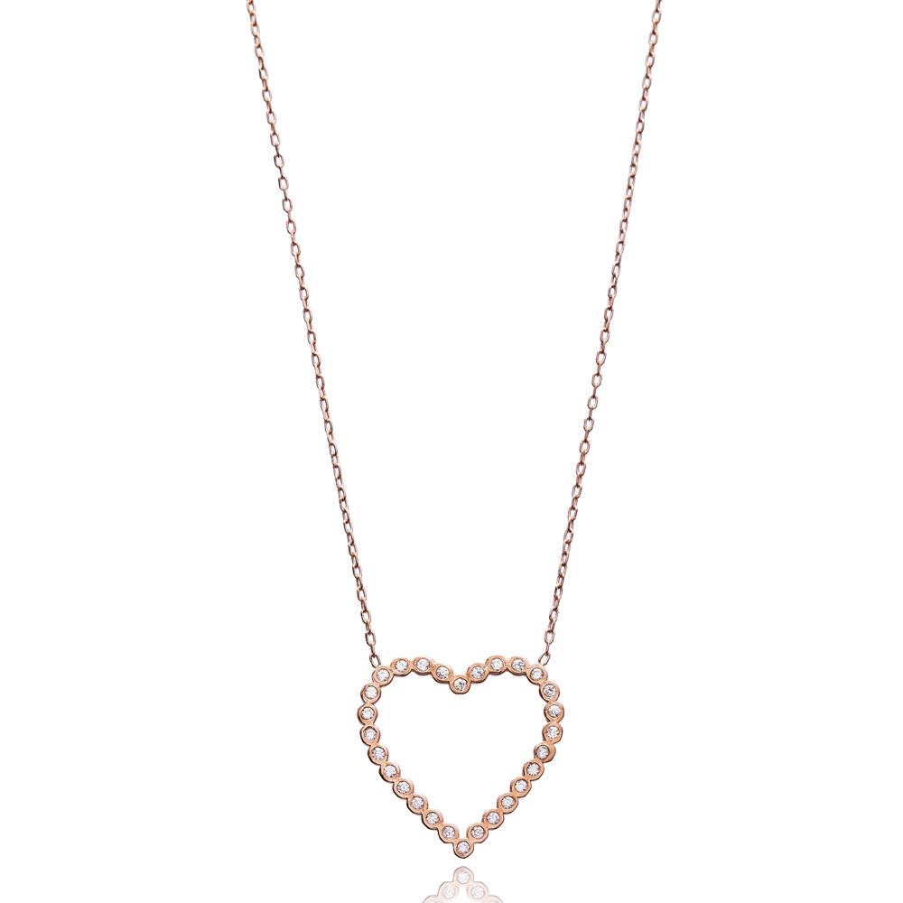 Minimalist Design Silver Heart Pendant Turkish Wholesale 925 Sterling Silver