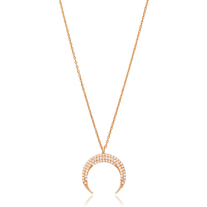 Minimalist Moon Design Pendant Turkish Wholesale Silver Jewelry Pendant