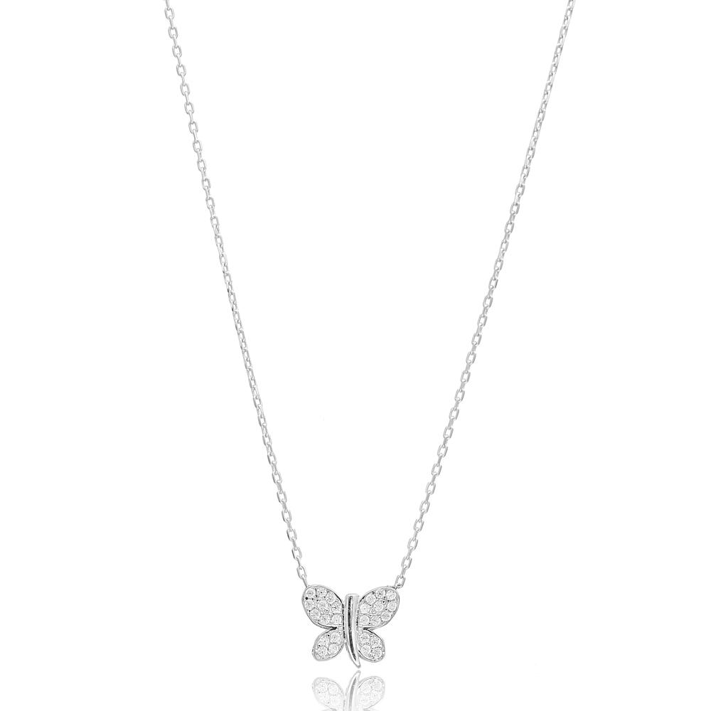 Minimalist Butterfly Design Pendant, Wholesale Handmade Turkish Sterling Silver Pendant