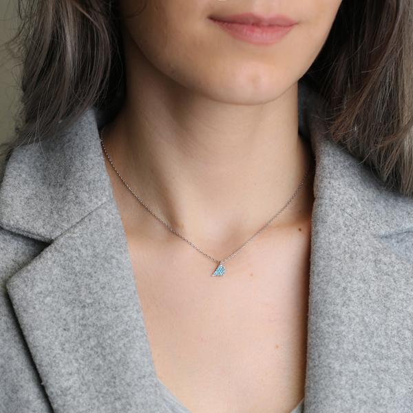 Bird Design Nano Turquoise Stone Turkish Wholesale Silver Pendant