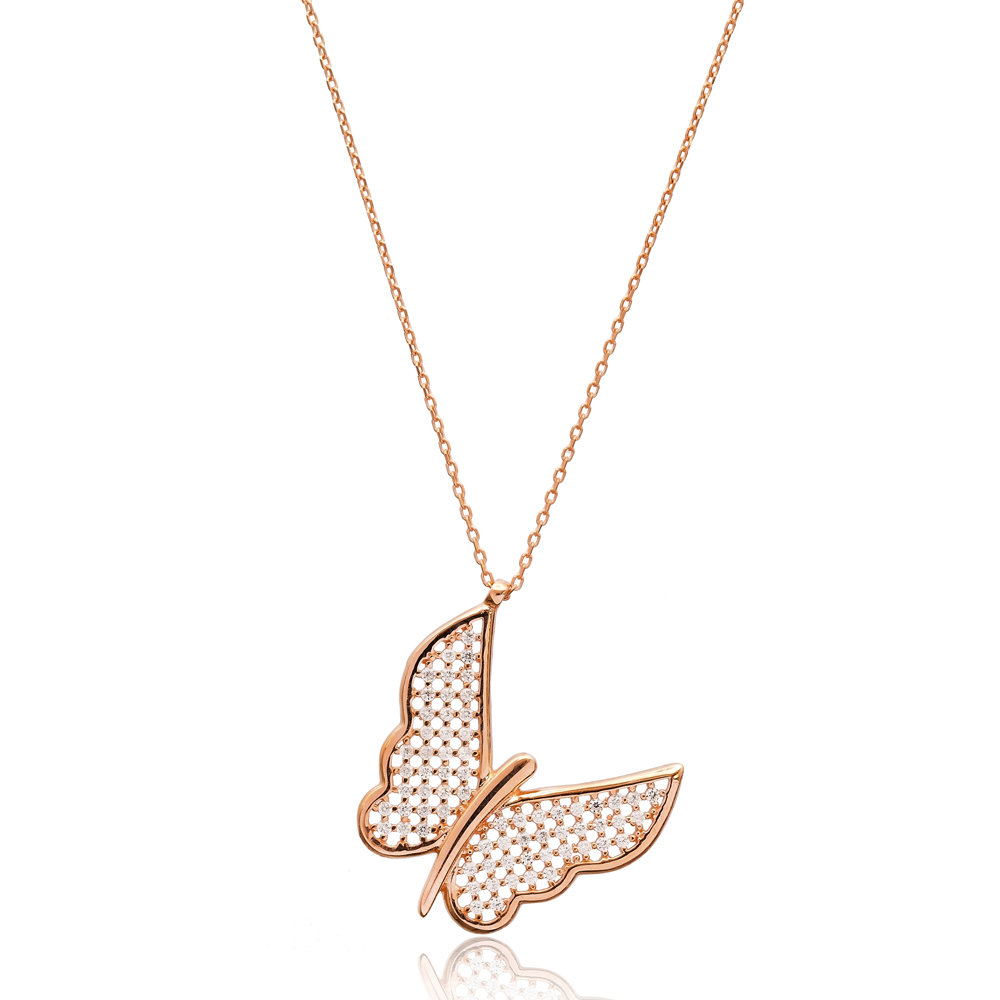 Butterfly Minimal Design Pendant In Turkish Wholesale 925 Sterling Silver