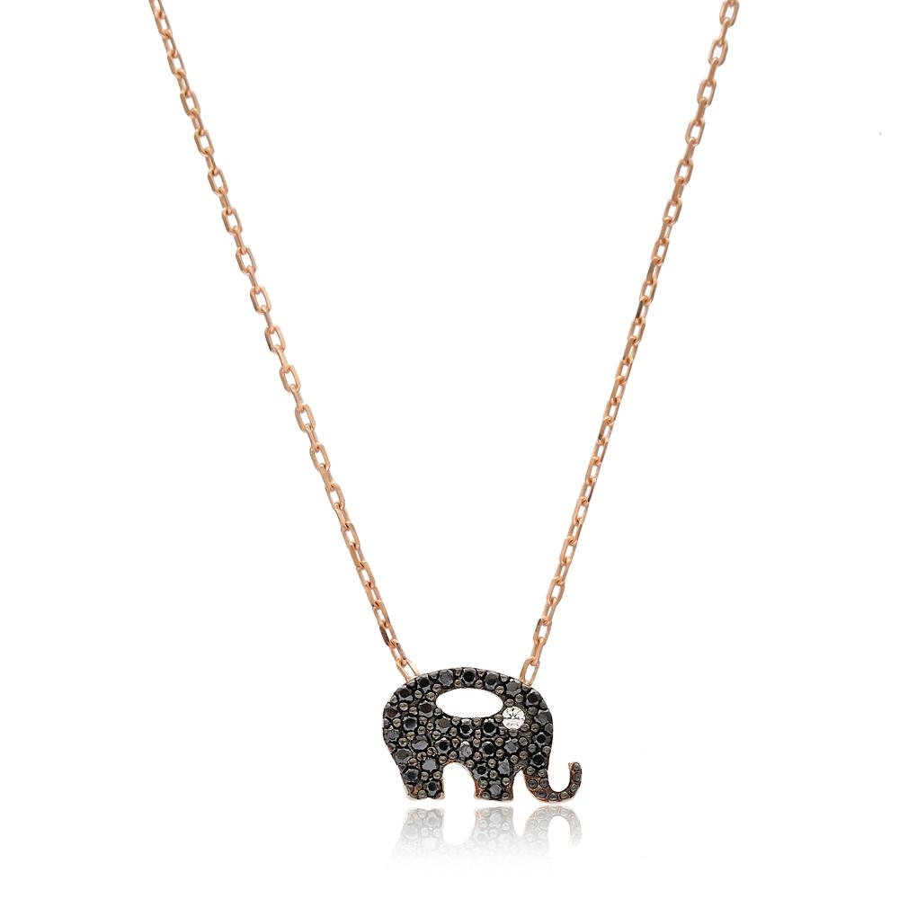 Minimalist Elephant Gradient Zircon Design Pendant Turkish Wholesale Sterling Silver Jewelry Pendant