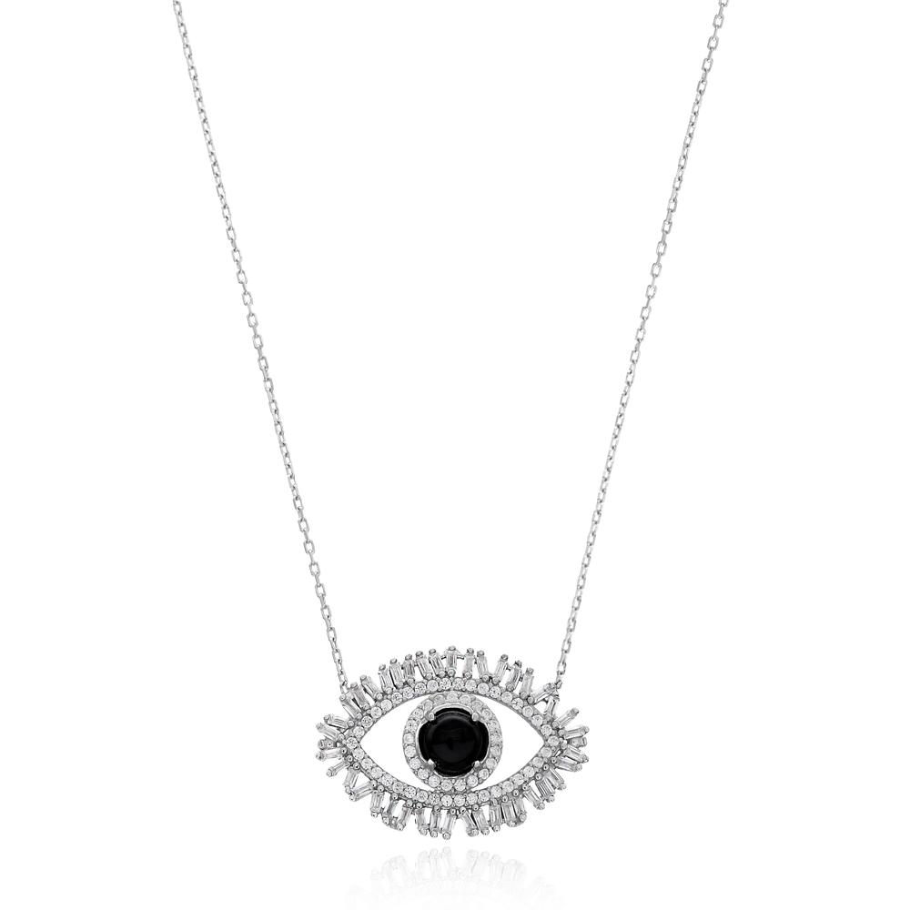 Evil Eye Baguette Zircon Handmade Turkish Wholesale Silver Pendant