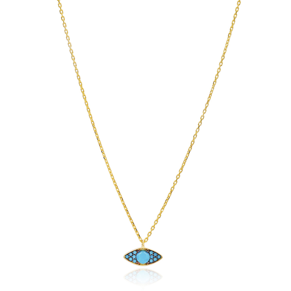 Nano Turquoise Eye Design Pendant Turkish Wholesale Sterling Silver Jewelry Pendant