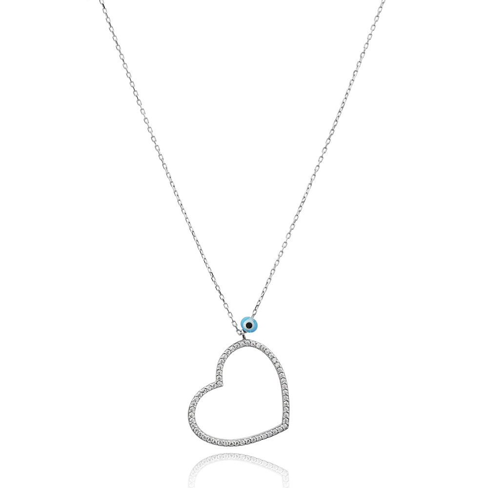 Silver Heart And Evil Eye Design Pendant Wholesale 925 Sterling Silver Jewelry