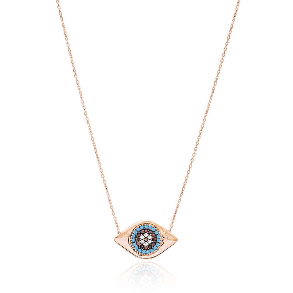 Silver Long Chain Evil Eye Design Pendant Wholesale 925 Sterling Silver Jewelry