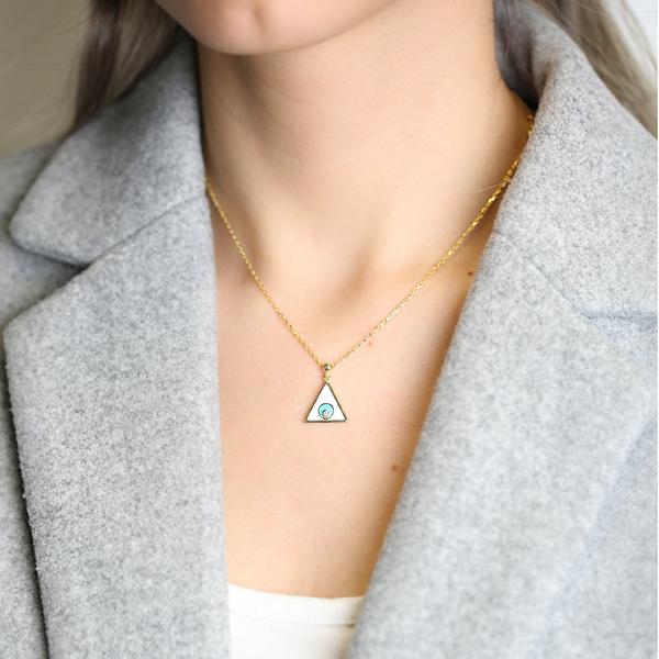 Enamel Triangle Design Pendant Wholesale 925 Sterling Silver Jewelry