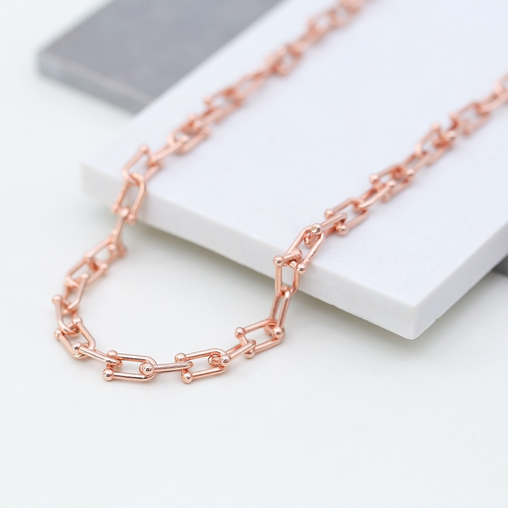Unique Design Chain Necklace Turkish Handmade 925 Sterling Silver Jewelry