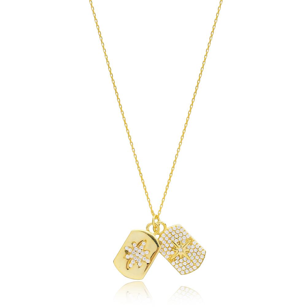 Dainty Design Zircon Stone Two Charm Necklace Turkish Handmade 925 Sterling Silver Jewelry