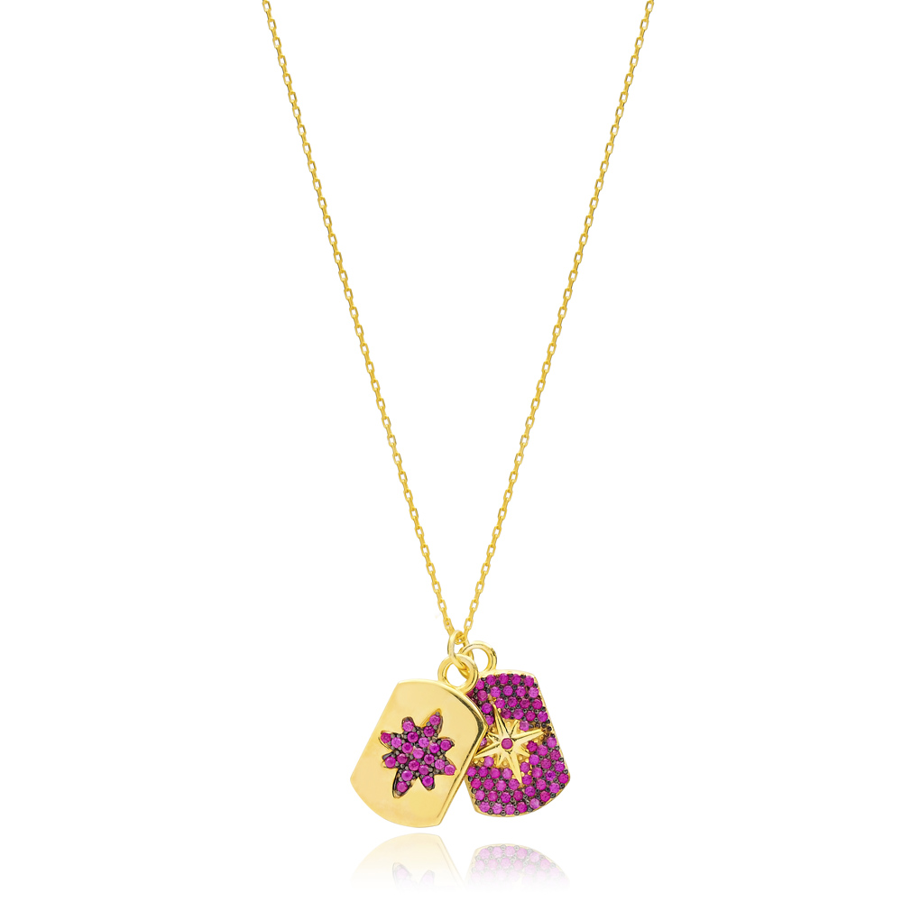 Dainty Design Ruby Stone Two Charm Necklace Turkish Handmade 925 Sterling Silver Jewelry