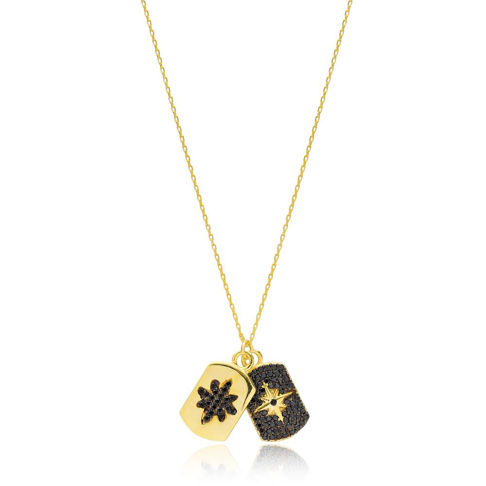Dainty Design Black Zircon Two Charm Necklace Turkish Handmade 925 Sterling Silver Jewelry