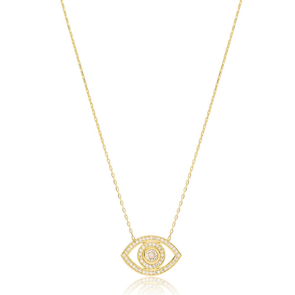 Trendy Eye Shape Zircon Necklace Turkish Handmade 925 Sterling Silver Jewelry