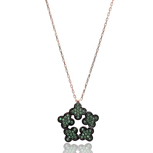 Pentagon Clover Pendant Turkish Wholesale Handmade 925k Sterling Silver