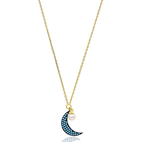 Nano Turquoise Turkish Wholesale Silver Crescent Moon Pendant