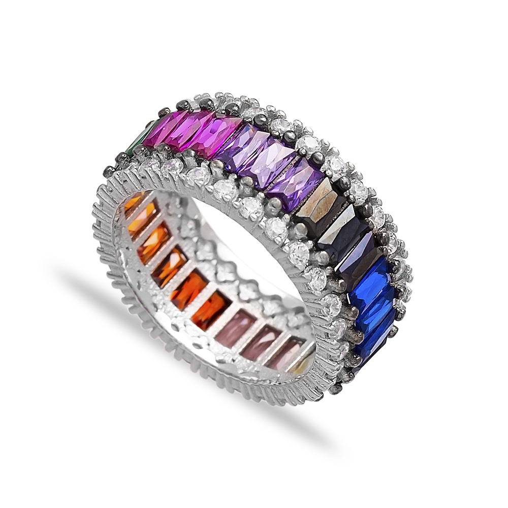 Colorful Baguette Band Ring Wholesale Handcrafted 925 Sterling Silver Ring