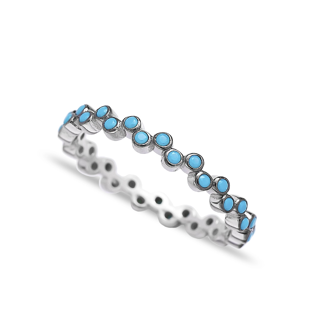 Pave Band Turquoise Beaded Ring Wholesale Handcrafted 925 Sterling Silver Ring