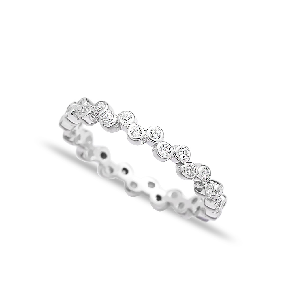 Pave Band Zircon Beaded Ring Wholesale Handcrafted 925 Sterling Silver Ring