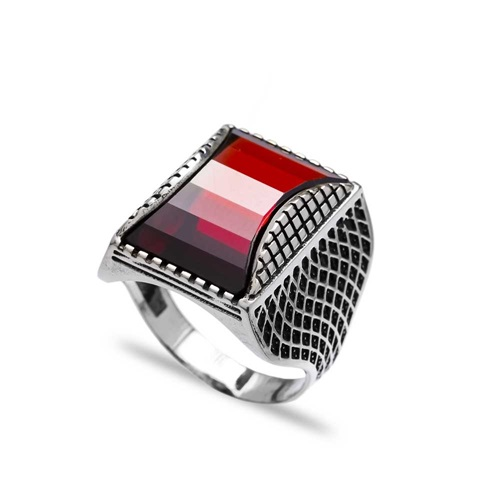 Garnet Authentic Men Ring Wholesale Handmade 925 Sterling Silver