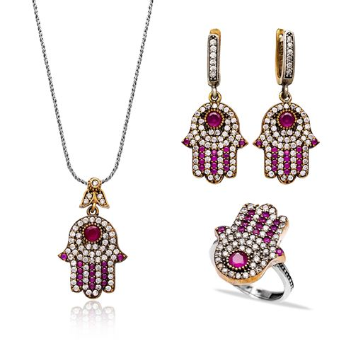 Authentic Handcrafted Hamsa Wholesale Turkish Silver Set
