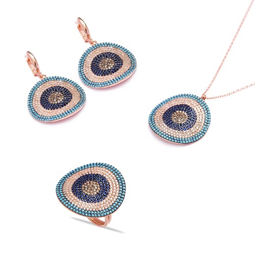 Inclined Evil Eye Handcrafted Wholesale Turkish Silver Set