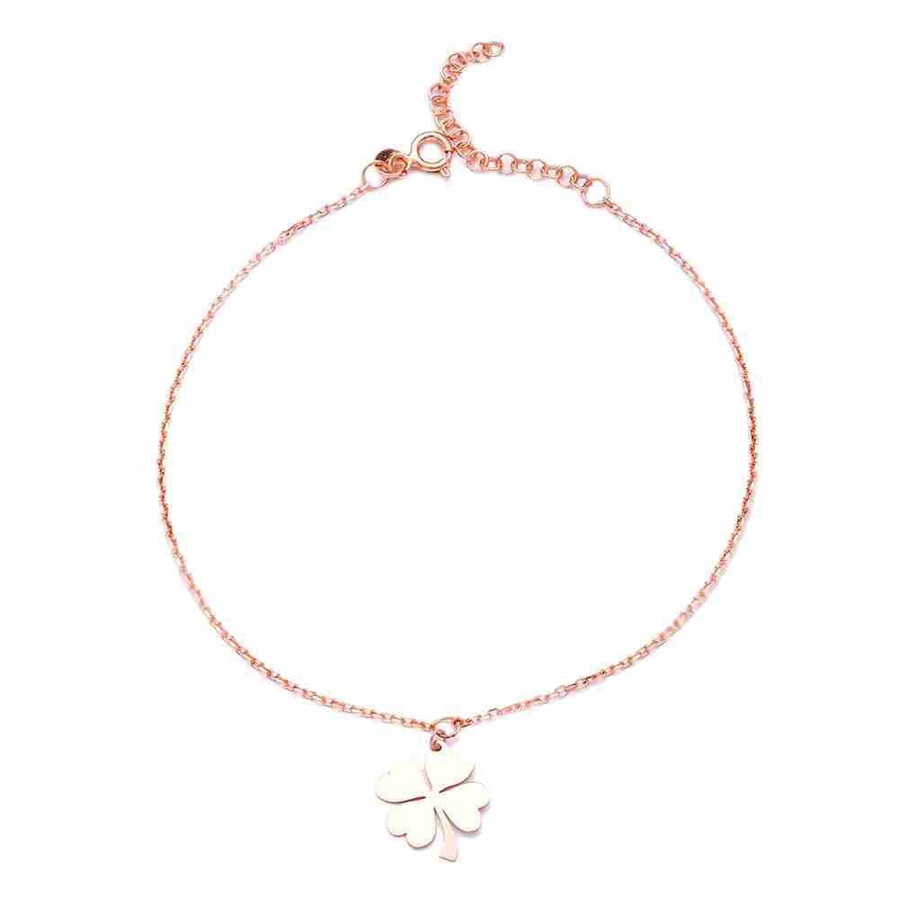 Silver Clover Anklet Wholesale Handmade Turkish Jewelry
