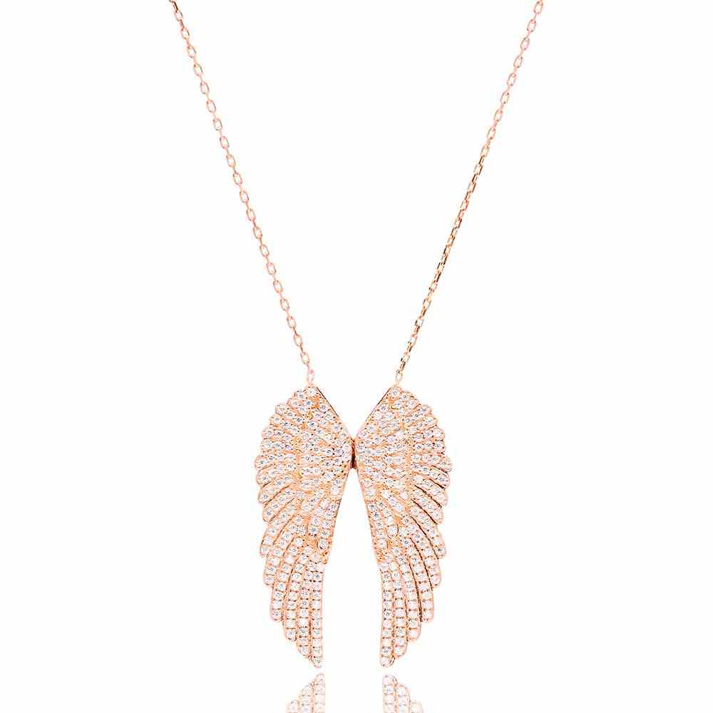 Silver Zircon Wing Necklace Turkish Wholesale Silver Ghost Pendant