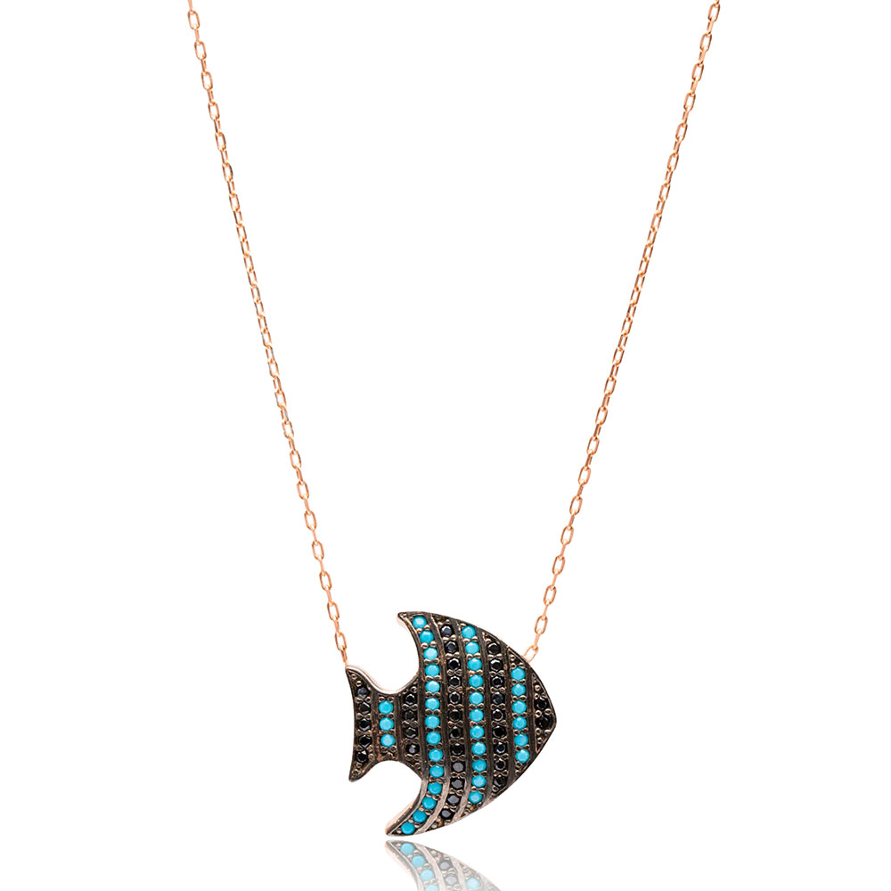 Turquoise Stone Fish Design Daint Pendant Turkish Wholesale Silver Jewelry