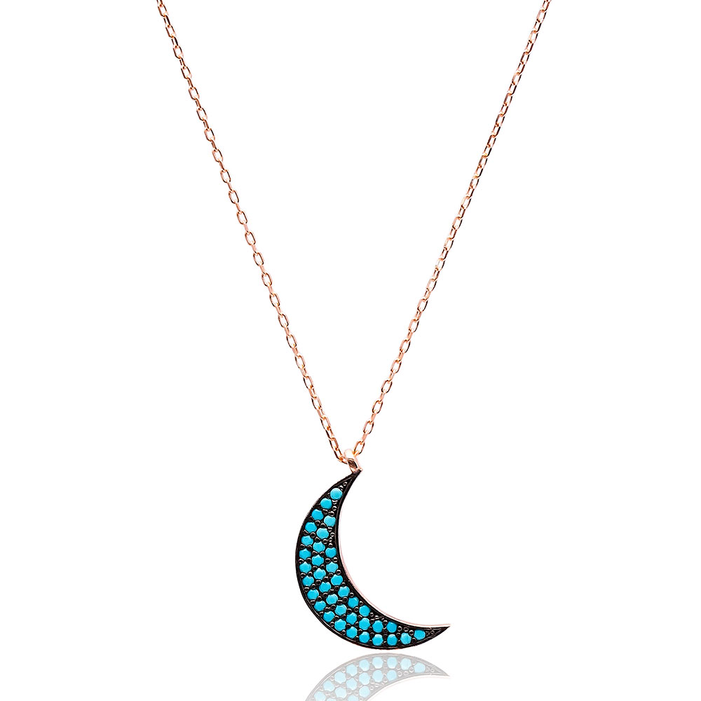 Nano Turquoise Turkish Wholesale Silver Crescent Moon Pendant