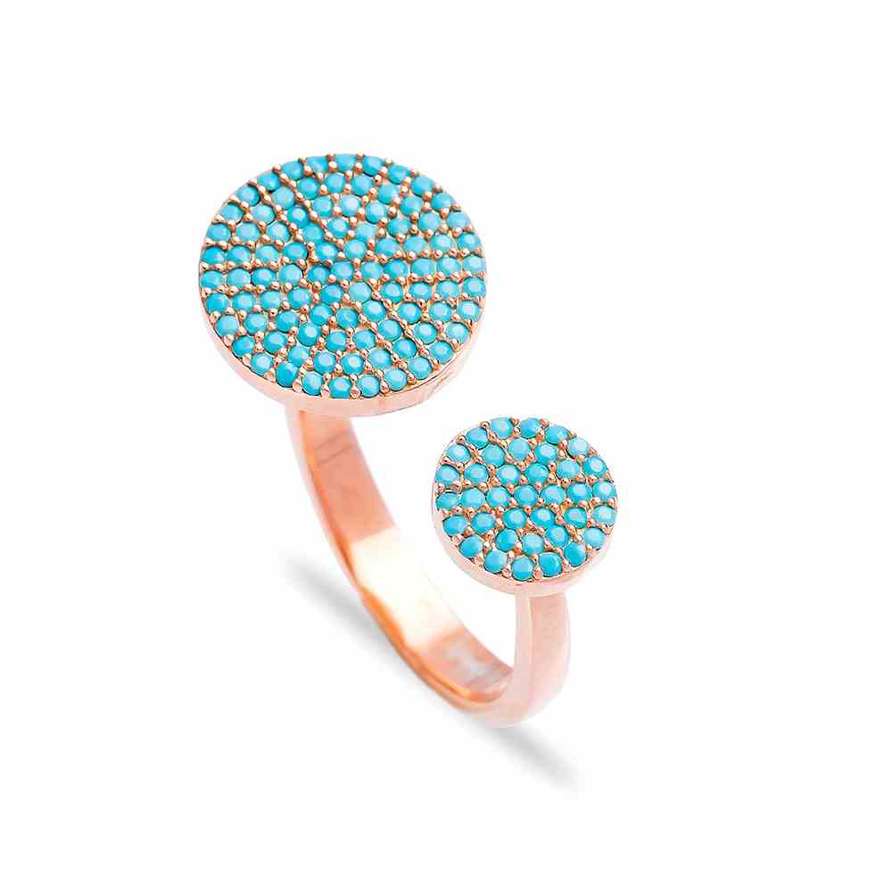 Fashionable Round Nano Turquoise Ring Wholesale Handcrafted Silver Jewelry