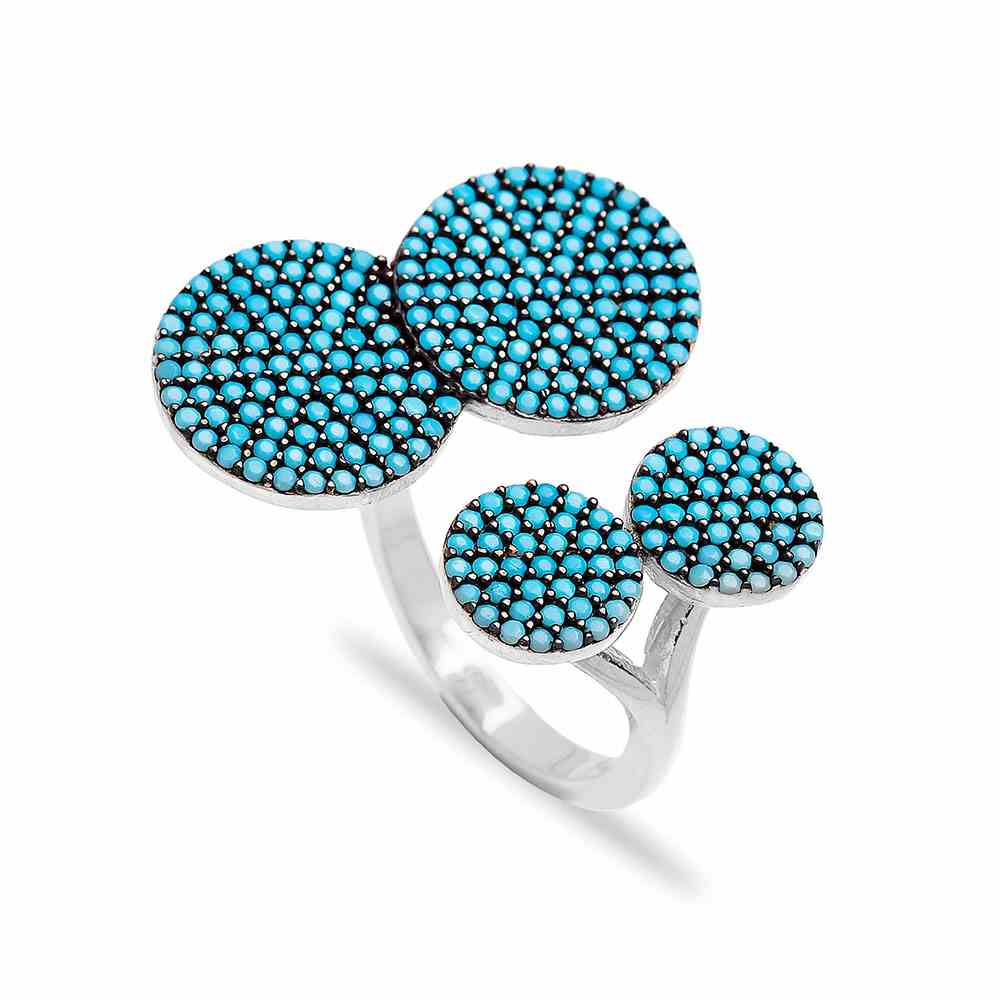 Rounded Fashionable Nano Turquoise Ring Wholesale Handcrafted Silver Jewelry
