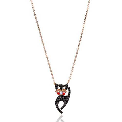 Black Zircon Turkish Wholesale Handcrafted 925 Sterling Silver Cat Design Pendant