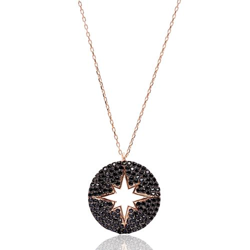 Round Turkish Wholesale Handmade 925 Sterling Silver Jewelry North Star Design Pendant