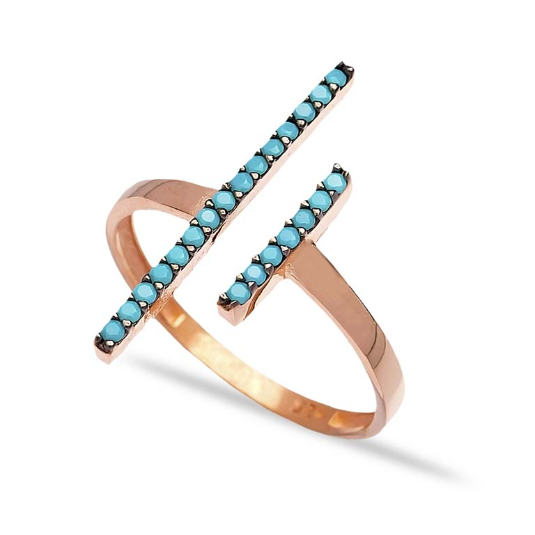 Turquoise Wholesale Handcrafted Silver Micro Pave Zircon Bar Ring