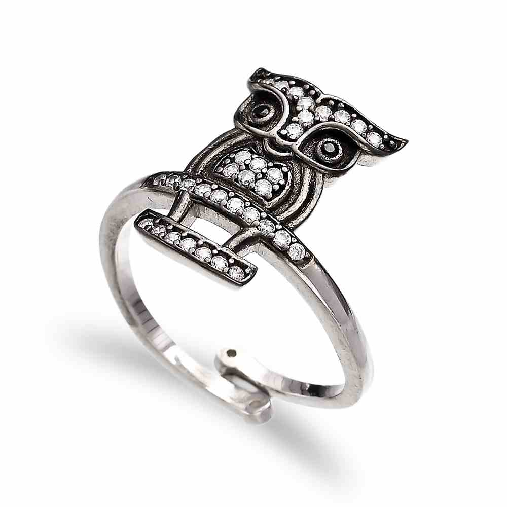 Owl Design Adjustable Ring Turkish Handcrafted Wholesale 925 Sterling Silver Jewelry