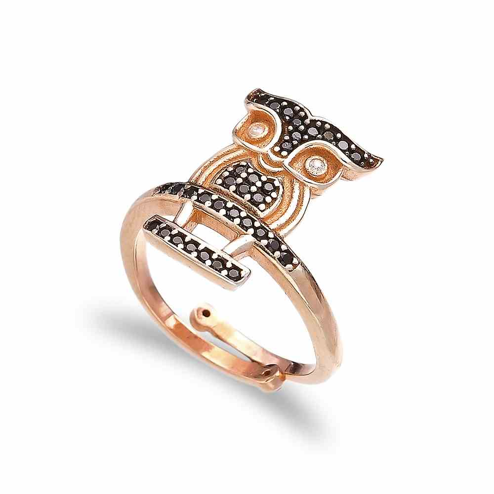 Minimal Owl Shape Design Black Zircon Stone Adjustable Ring Turkish Handmade Wholesale 925 Sterling Silver Jewelry